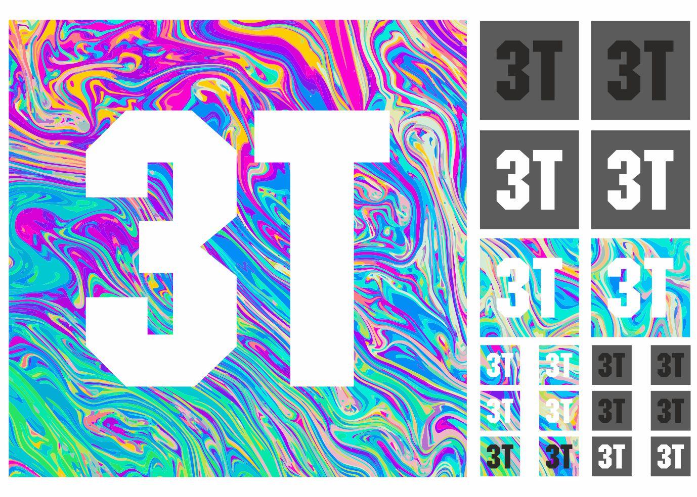 3T Bicycle Bike Frame Decals Sticker Set Adhesive Graphic Vinyl Aufkleber 19 Pcs