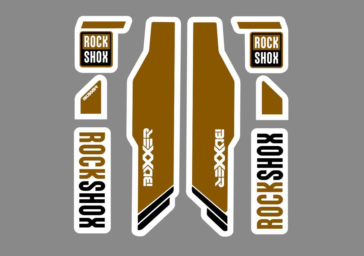 Rock Shox Boxxer Mountain Bike Cycling Decal Kit Sticker Adhesive White Gold