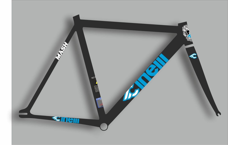 CINELLI Bicycle Bike Frame Decal Sticker Adhesive Set Vinyl Sheet Aufkleber 12Pc