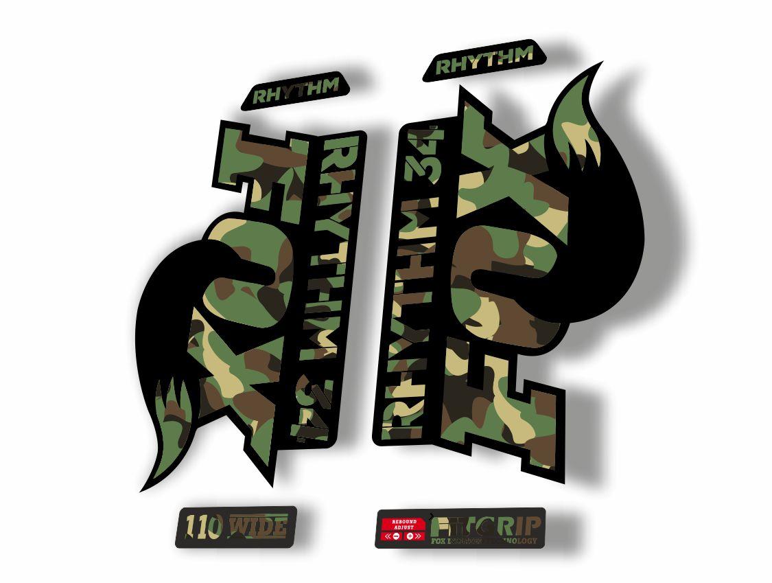 Black//Grey Stealth Enduro DH Fox 34 Rhythm Sticker Decal Sets
