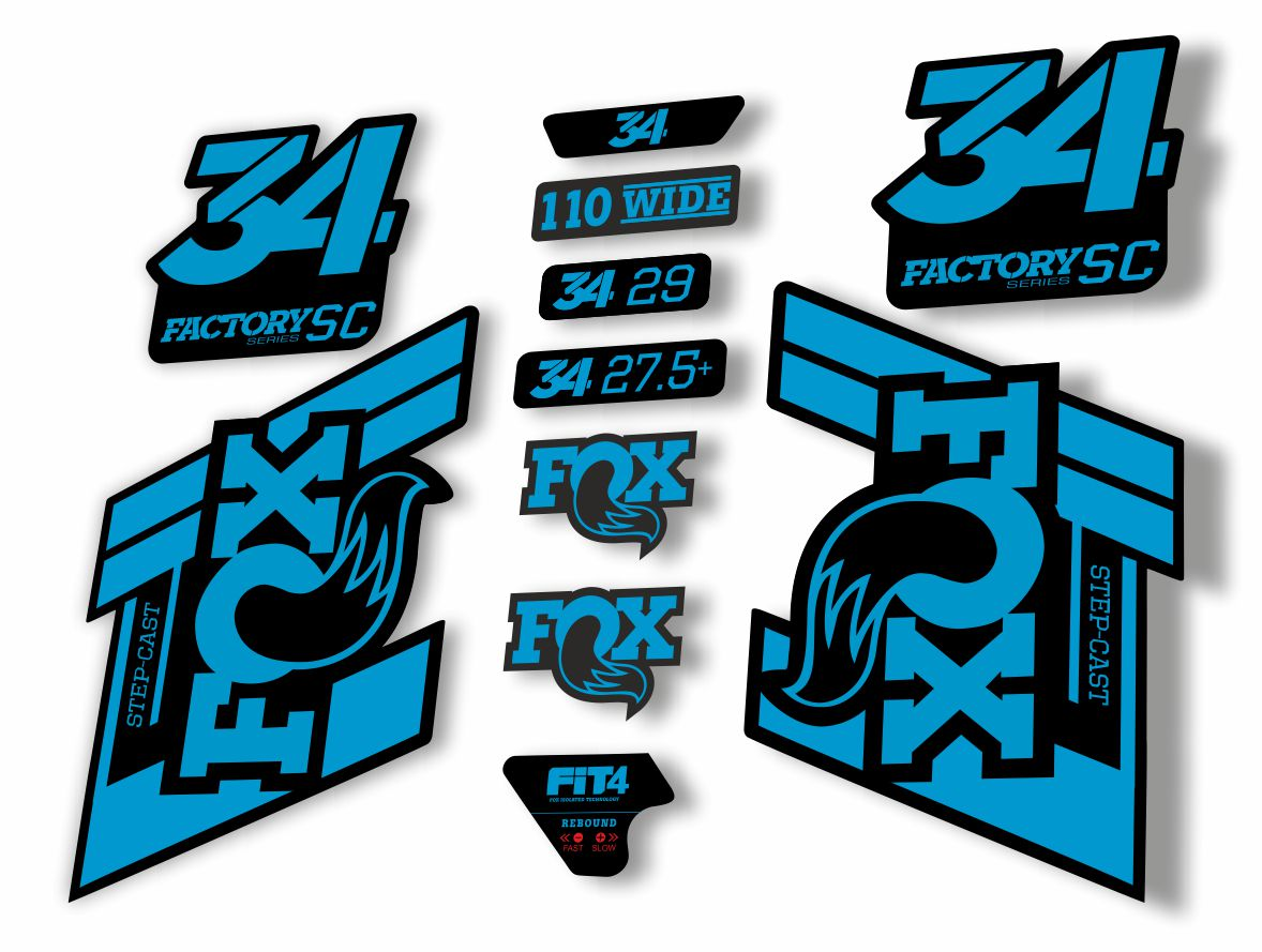 FOX 32 Step Cast SC Forks Suspension Factory Decal Stickers Adhesive Green Blue