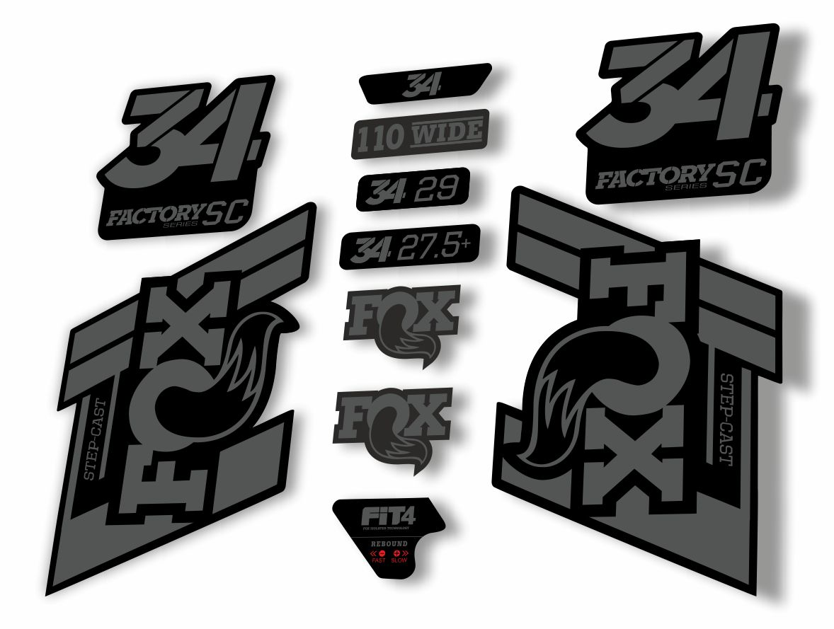FOX 34 Step Cast SC 2019 Fork Suspension Factory Decal Stickers Adhesive Camo