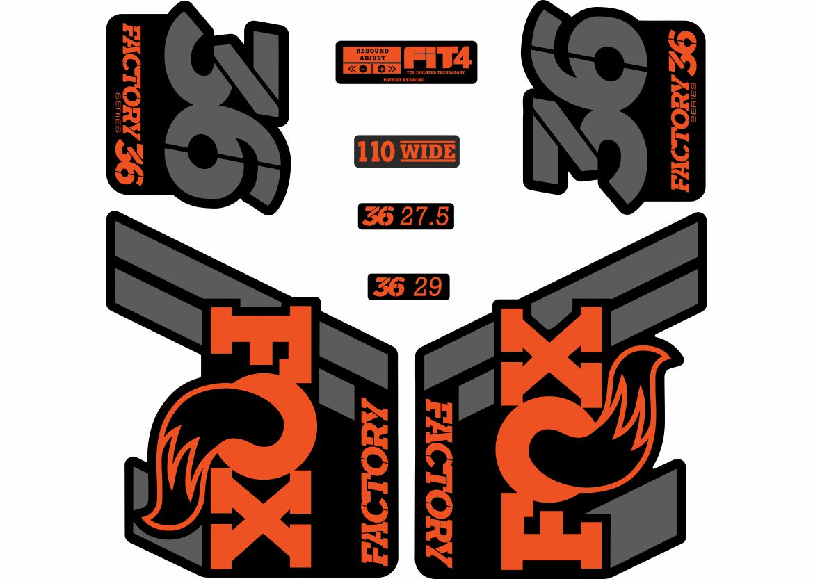 FOX 36 Float 2018-19 Forks Suspension Factory Decal Sticker Adhesive Orange Gray