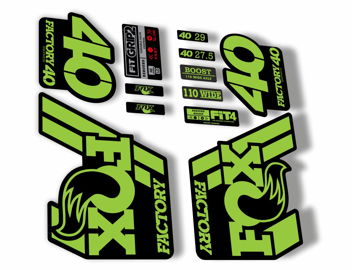 FOX 40 Float 2018-19 Forks Suspension Factory Decals Sticker Adhesive Green Gray