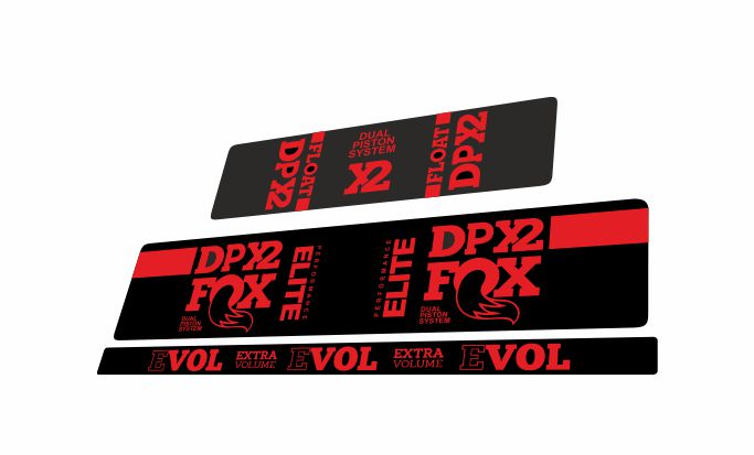 FOX Float DPX2 Elite Perormance Rear Shock Suspension Sticker Decal Red