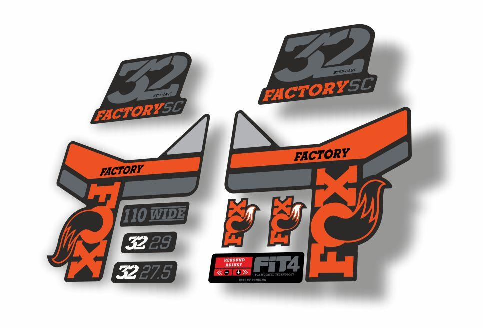 FOX 32 Step Cast SC Forks Suspension Factory Decals Stickers Adhesive Orange 1