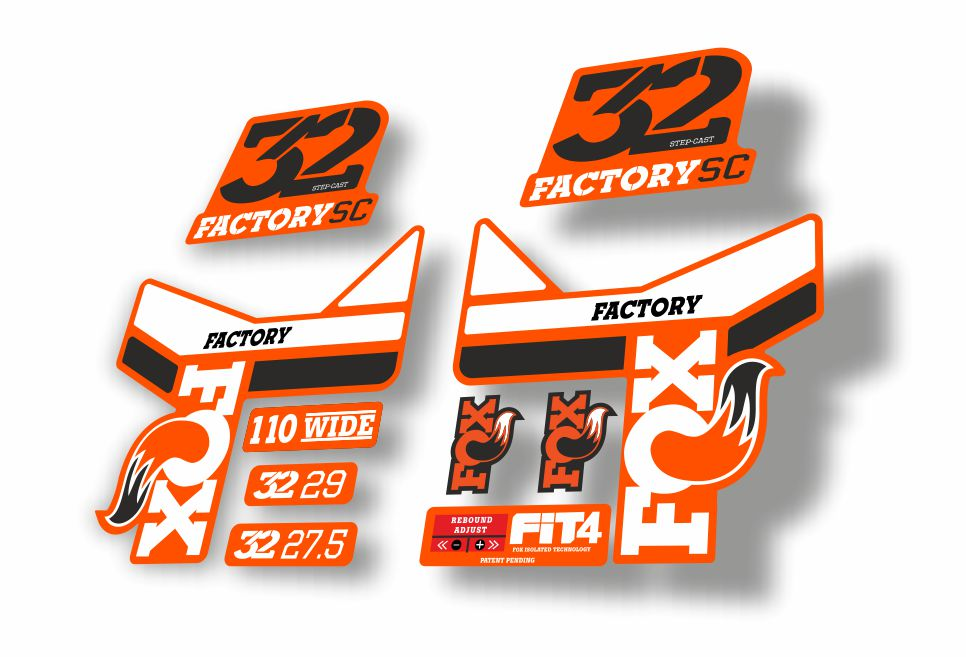 FOX 34 Float 2017 Forks Suspension Factory Decals Stickers Adhesive Orange