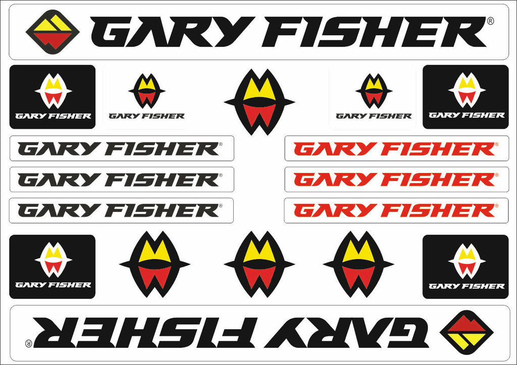 Gary Fisher Mountain Bicycle Frame Decals Stickers Adhesive Set Vinyl Black