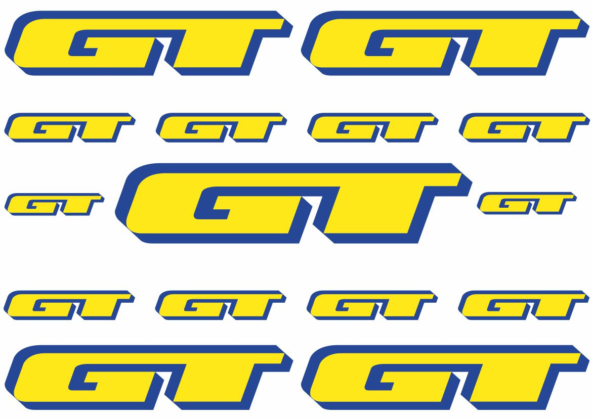 GT Bicycle Frame Stickers Vinyl Logo Decals Graphic Set Adhesive 4 Pcs
