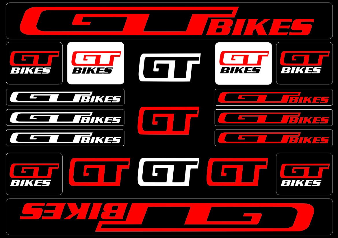 Details about gt bicycle bike frame decals stickers adhesive graphic set vinyl aufkleber red