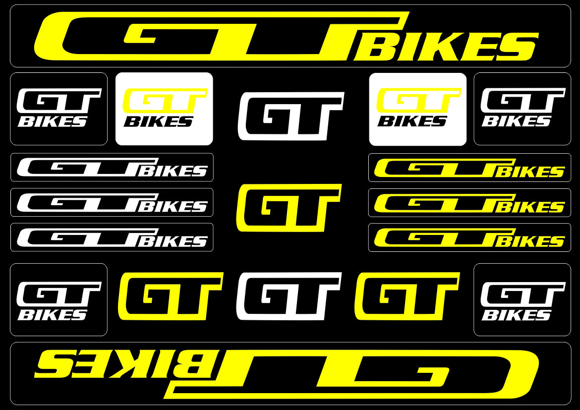 Details about gt bicycle bike frame decals sticker adhesive graphic set vinyl aufkleber yellow