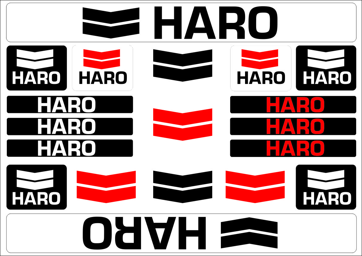 Details about haro bicycle bike frame decals sticker adhesive graphic vinyl aufkleber black