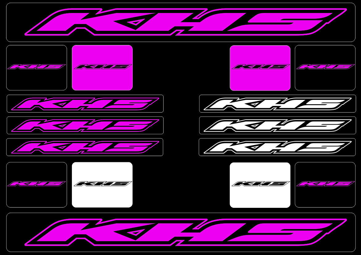 KHS Mountain Bicycle Frame Decal Stickers Graphic Adhesive Set Vinyl Pink