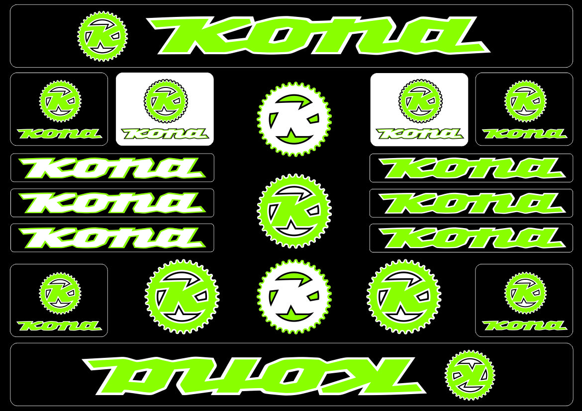 KONA Bicycle Bike Frame Decals Sticker Adhesive Graphic Vinyl Aufkleber Red