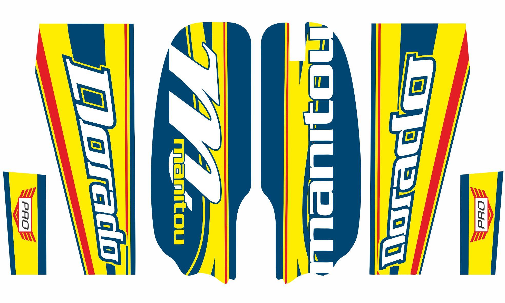 Manitou Dorado Pro Fork Suspension Graphic Decal Kit Sticker Set Blue Yellow