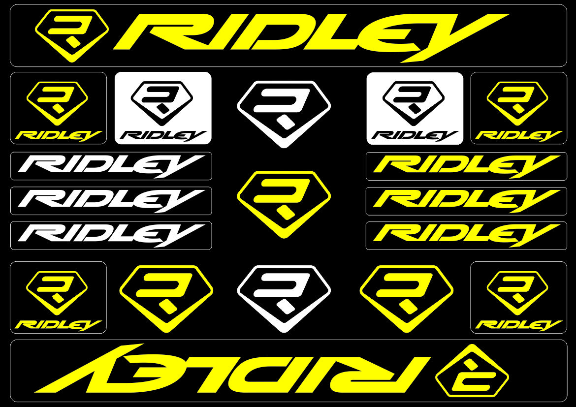 RIDLEY Bicycle Bike Frame Decals Sticker Adhesive Graphic Vinyl Aufkleber Yellow