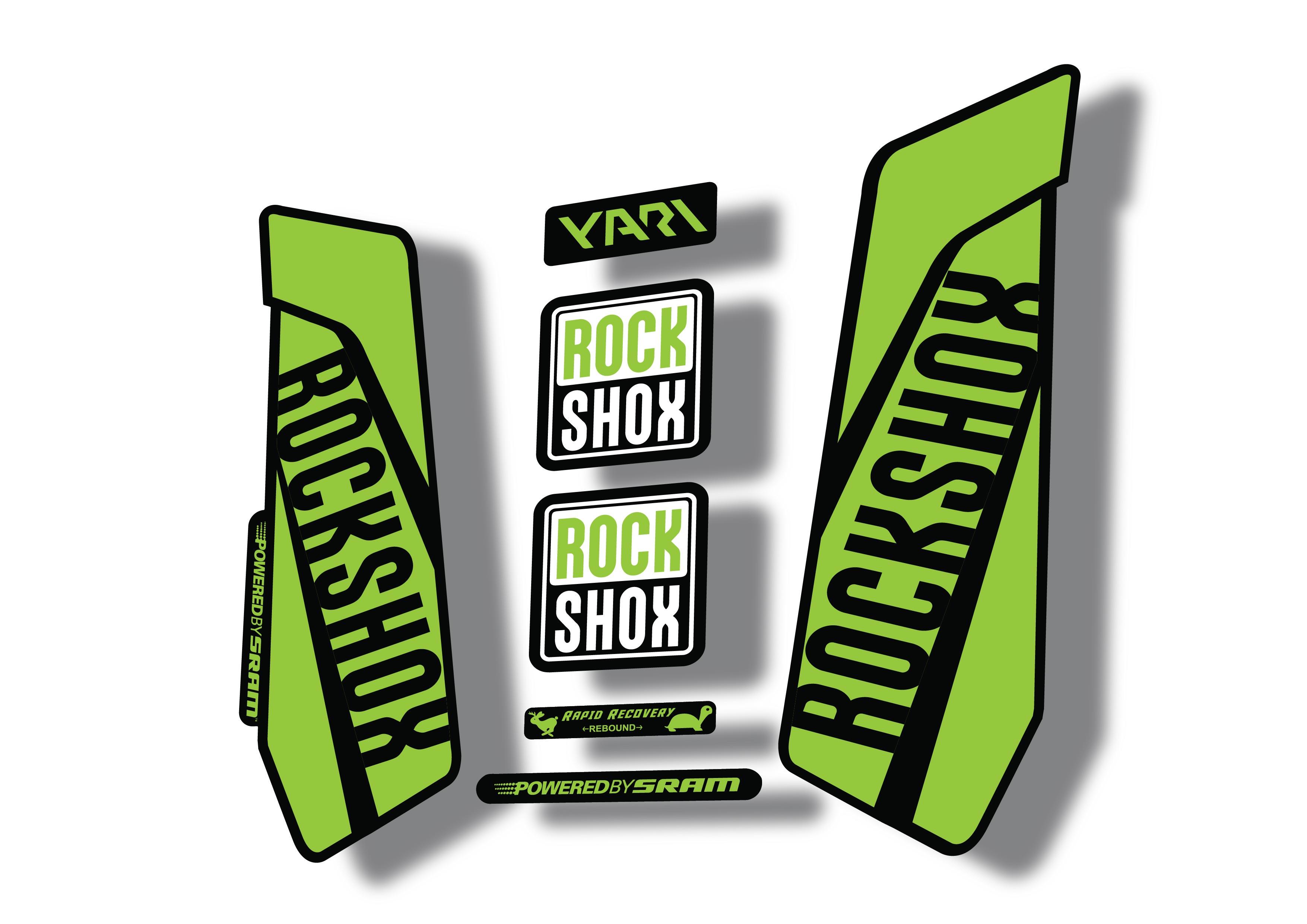 Rock Shox YARI 2015-16 Fork Decal Mountain Bike Cycling Sticker Lime Green
