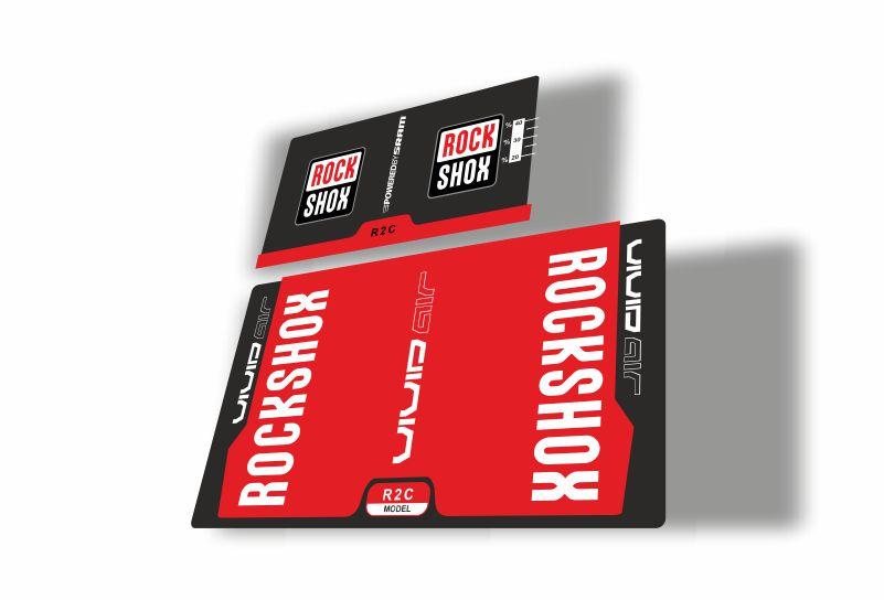 Rock Shox Vivid Air R2C 2017 Rear Shock MTB Decal Sticker Adhesive White