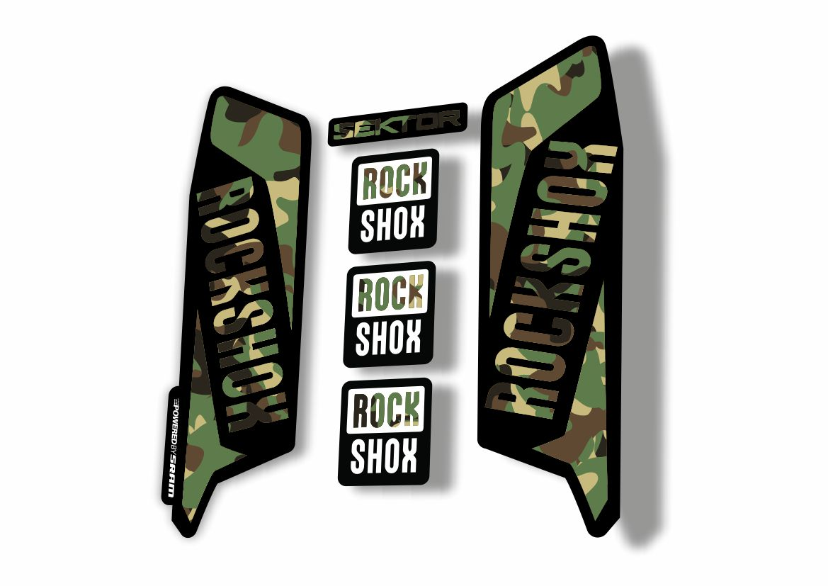 Camo Rock Shox SEKTOR 2016 Fork Decal Mountain Bike Cycling Sticker Adhesive W