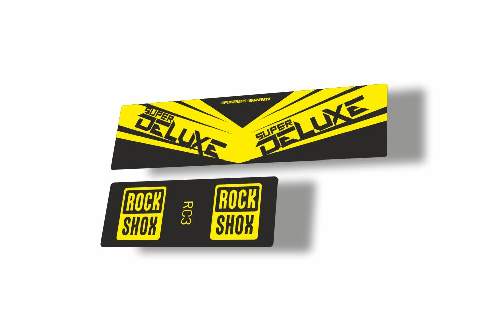 Rock Shox Super Deluxe RC3 Rear Shock MTB Decal Sticker Adhesive Yellow