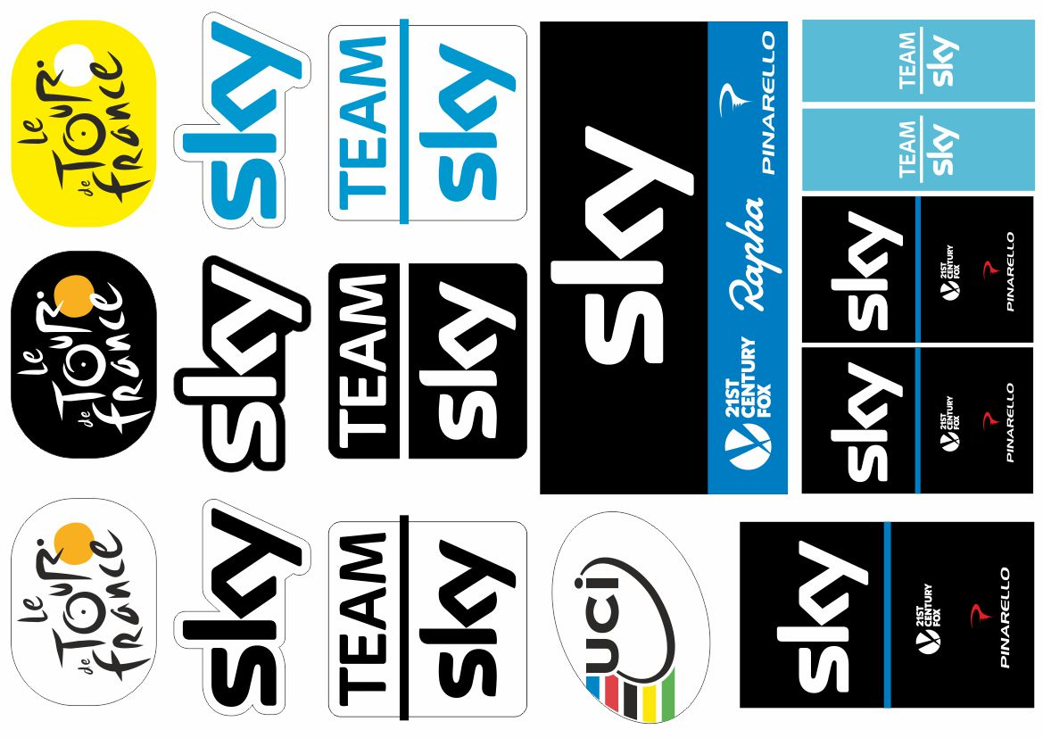 Sky Team Vinyl Decals Stickers Frame Sponsor Replacement Adhesive Set 16 Pcs
