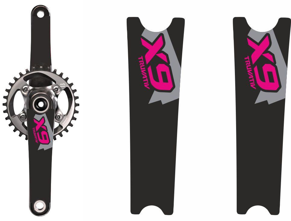 Crank Set Stickers Decals MTB SRAM X9 Mountain Bike Bicycle Adhesive 2Pcs Yellow