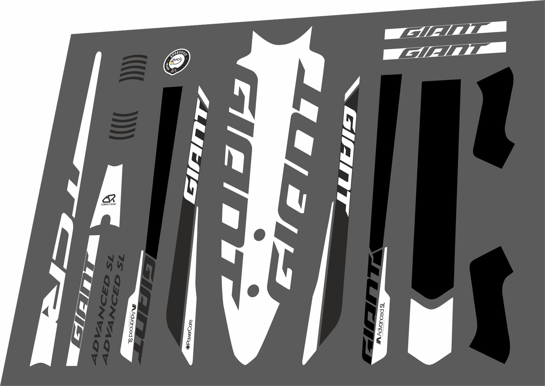 Details about giant tcr advanced sl 2016 frame sticker factory decal adhesive vinyl set white