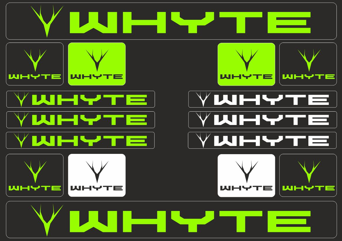 WHYTE Mountain Bicycle Frame Decal Stickers Graphic Set Adhesive Set Vinyl Red